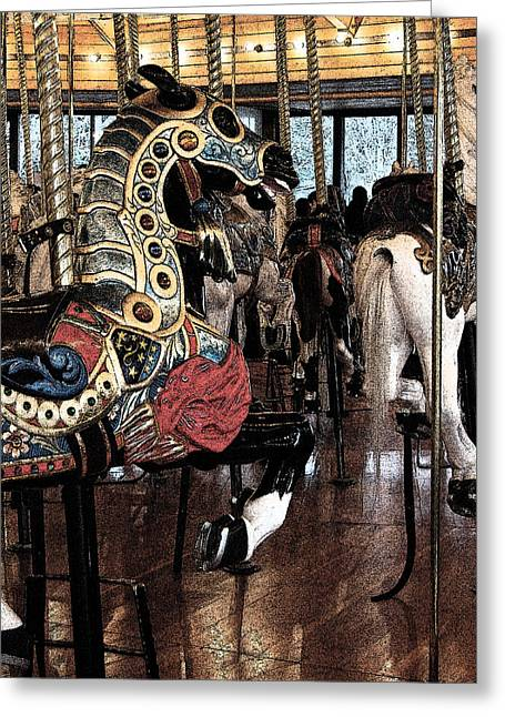 Looff Greeting Cards - Carousel War Horse Greeting Card by Jani Freimann