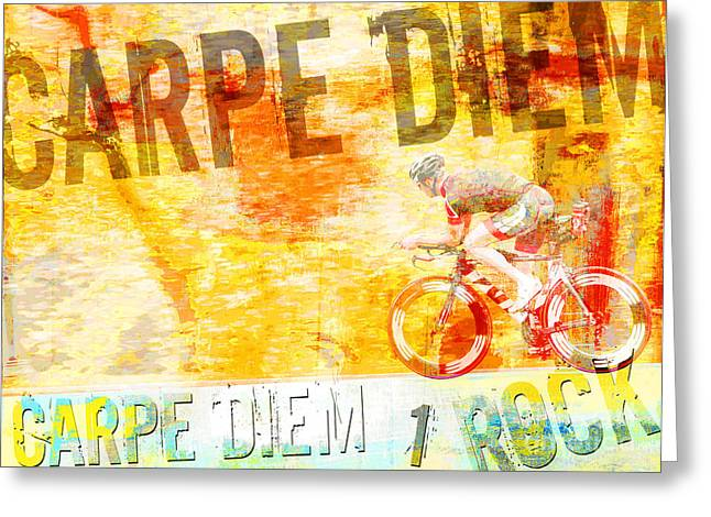 Youth Mixed Media Greeting Cards - Carpe Diem Biker Greeting Card by Adspice Studios