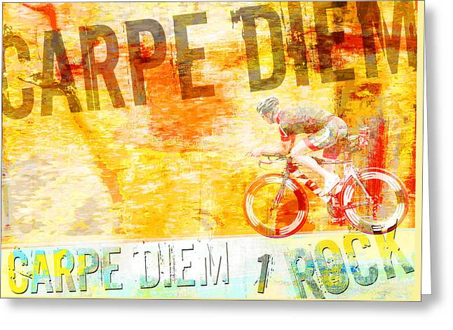 Urban Sport Greeting Cards - Carpe Diem Biker Pop Art Poster Greeting Card by ArtyZen Studios - ArtyZen Home