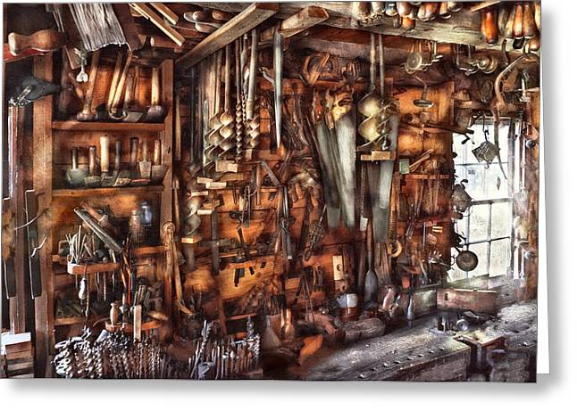 Cluttered Greeting Cards - Carpenter - Thats a lot of tools  Greeting Card by Mike Savad