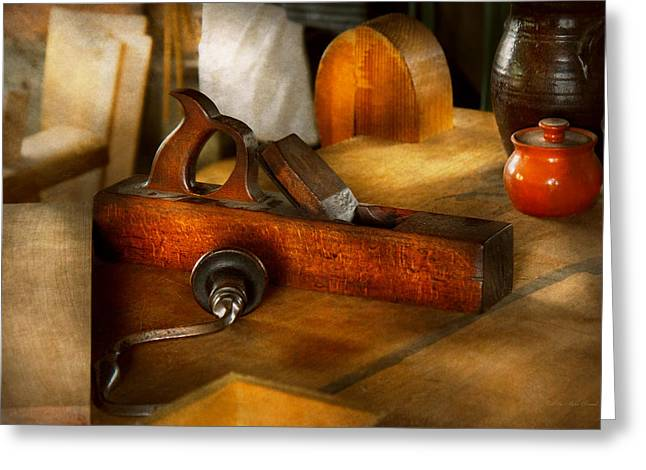 Work Bench Greeting Cards - Carpenter - The humble shop plane Greeting Card by Mike Savad