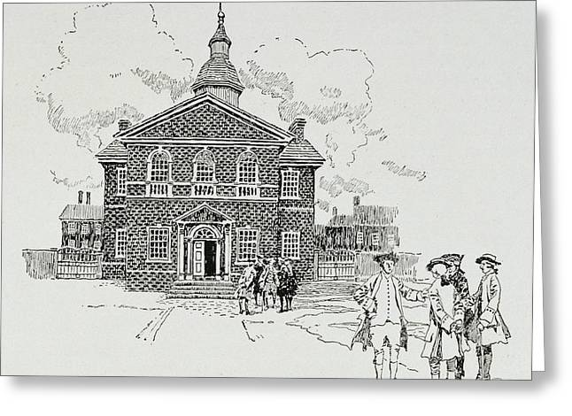 Colonial Greeting Cards - Carpenters Hall, Philadelphia, Where The First And Second Continental Congresses Held Greeting Card by Howard Pyle
