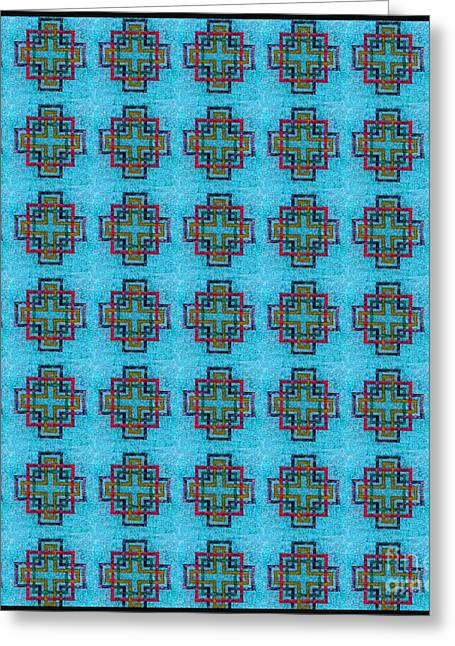 Squared Tapestries - Textiles Greeting Cards - Carpenters Square Blue Greeting Card by Barbara Griffin