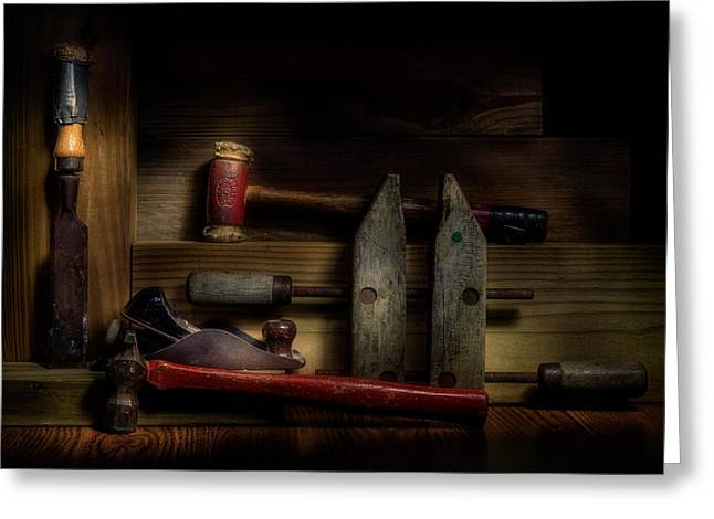Clamps Greeting Cards - Carpentry Still Life Greeting Card by Tom Mc Nemar