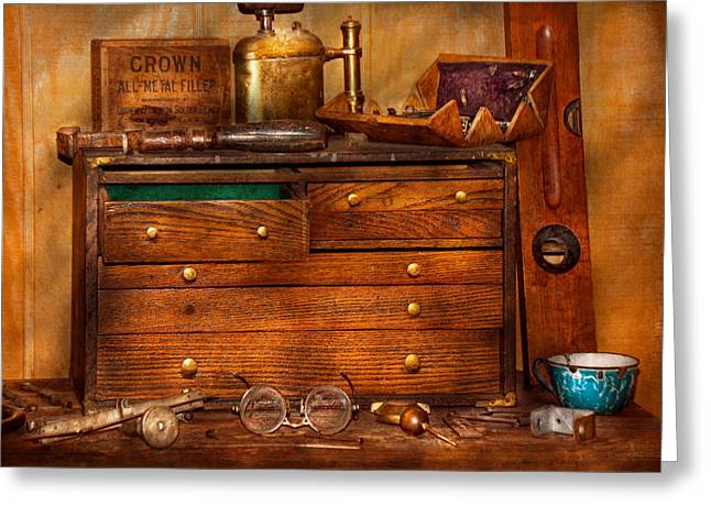 Toolbox Greeting Cards - Carpentry - Tools - In my younger days  Greeting Card by Mike Savad