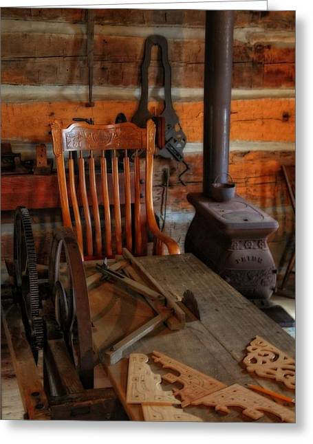 Old Cabins Photographs Greeting Cards - Carpentry Workshop Greeting Card by Dan Sproul