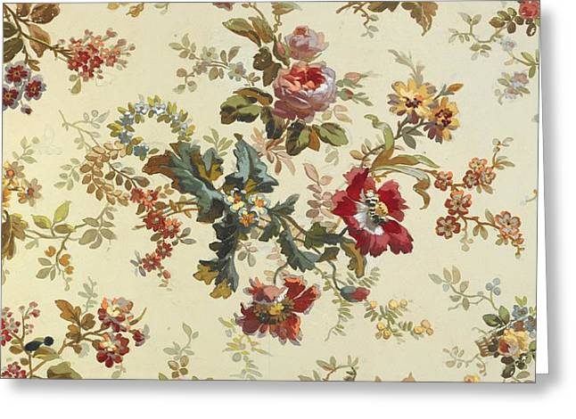 Flower Tapestries - Textiles Greeting Cards - Carpet design Greeting Card by English School