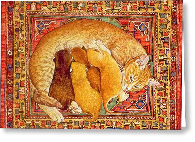 Feeding Greeting Cards - Carpet-kittens Greeting Card by Ditz