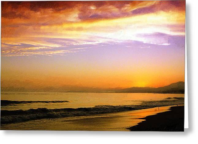 Beach In Santa Barbara Greeting Cards - Carpinteria Sunset Greeting Card by Ron Regalado
