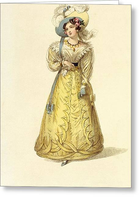Gloves Drawings Greeting Cards - Carriage Costume, Fashion Plate Greeting Card by English School