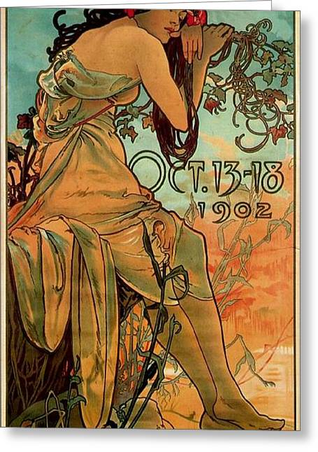 Art Exhibition Greeting Cards - Carriage Dealers, 1902 Colour Litho Greeting Card by Alphonse Marie Mucha
