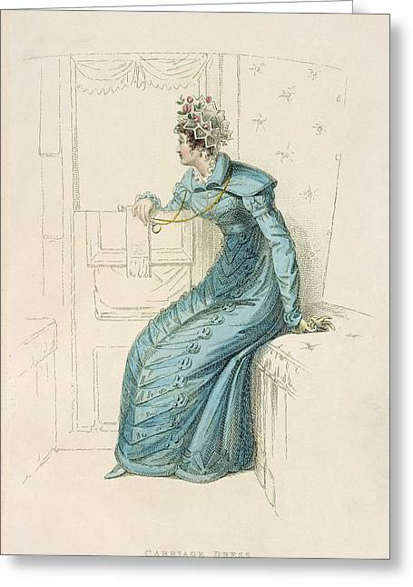 Long Sleeved Dress Greeting Cards - Carriage Dress, Fashion Plate Greeting Card by English School
