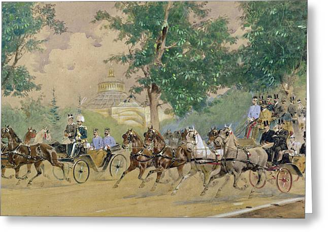 Carriage Greeting Cards - Carriage Driving near the Rotunda in Vienna Greeting Card by Austrian School