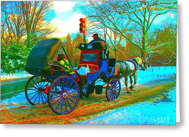 In-city Pastels Greeting Cards - Carriage In The Park Greeting Card by Dan Hilsenrath