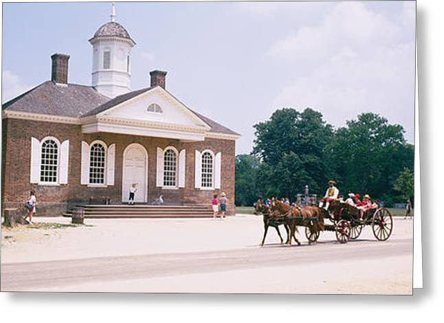 Williamsburg Greeting Cards - Carriage Moving On A Road, Colonial Greeting Card by Panoramic Images