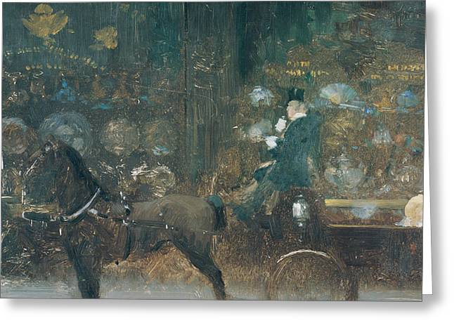 Canvas On Board Greeting Cards - Carriage Ride Greeting Card by Giuseppe De Nittis