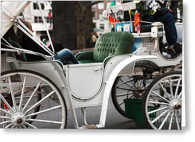 Horse And Buggy Greeting Cards - Carriage Ride in Central Park Greeting Card by John Rizzuto