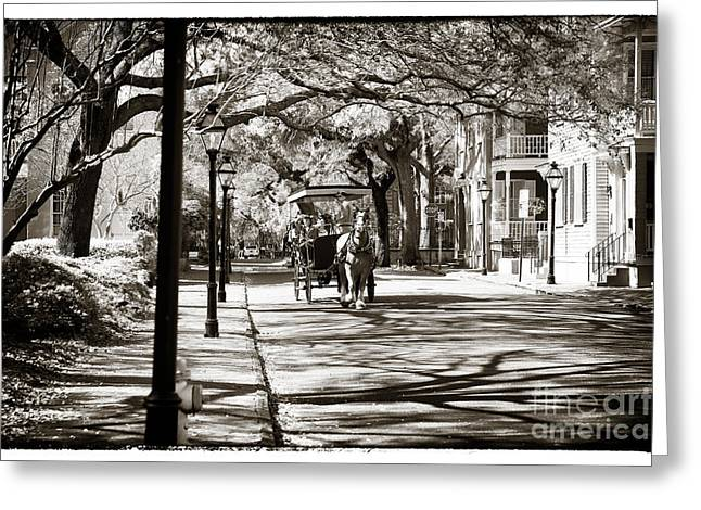 Old School House Greeting Cards - Carriage Ride in Charleston Greeting Card by John Rizzuto