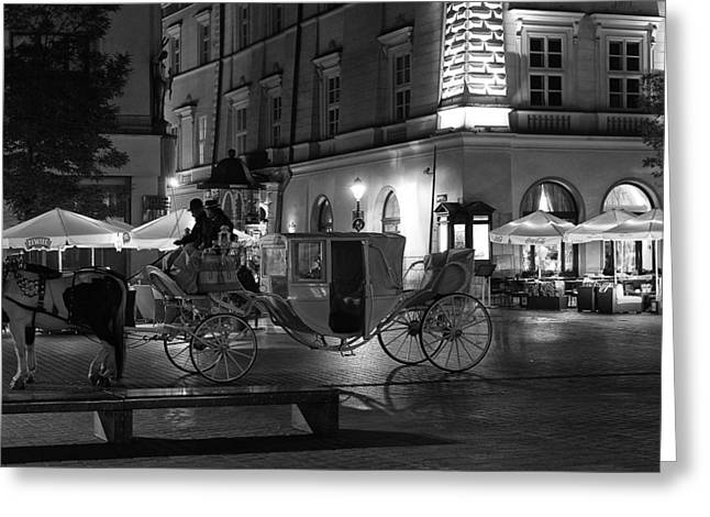 Night Cafe Greeting Cards - Carriage Ride in Kracow Greeting Card by Mountain Dreams