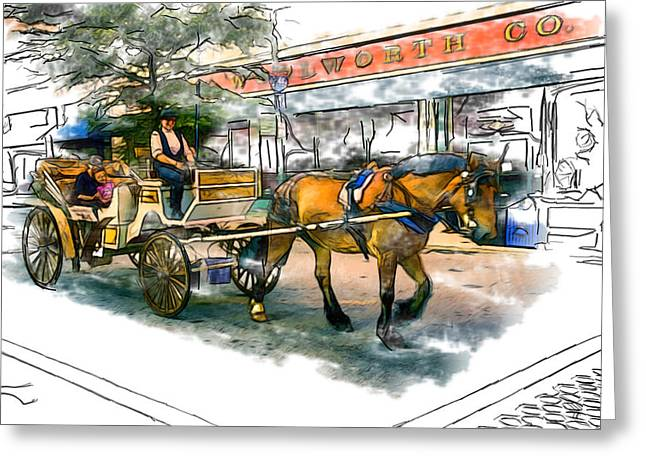 Asheville Mixed Media Greeting Cards - Carriage Ride Greeting Card by John Haldane