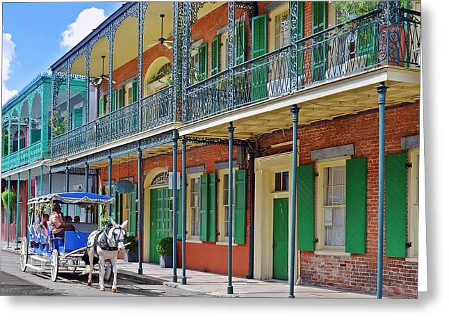 Townhouses Greeting Cards - Carriage Ride New Orleans Greeting Card by Christine Till