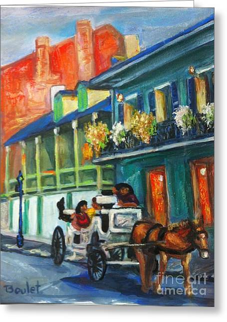 Quarter Horse Mixed Media Greeting Cards - Carriage Ride on Dumaine Street Greeting Card by Beverly Boulet