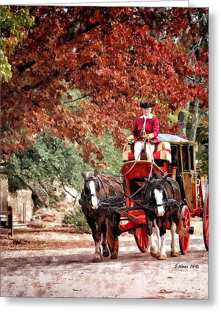 Horse And Cart Greeting Cards - Carriage Ride Greeting Card by Shari Nees