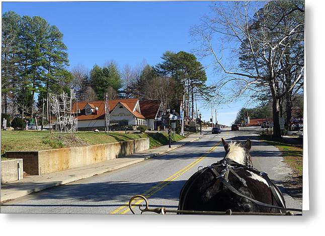 Horse And Buggy Greeting Cards - Carriage Ride Through Helen Georgia Greeting Card by Denise Mazzocco