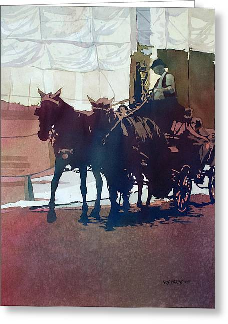 Hansom Greeting Cards - Carriage Trade Greeting Card by Kris Parins