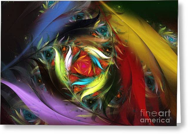 Querformat Greeting Cards - Carribean Nights-Abstract Fractal Art Greeting Card by Karin Kuhlmann