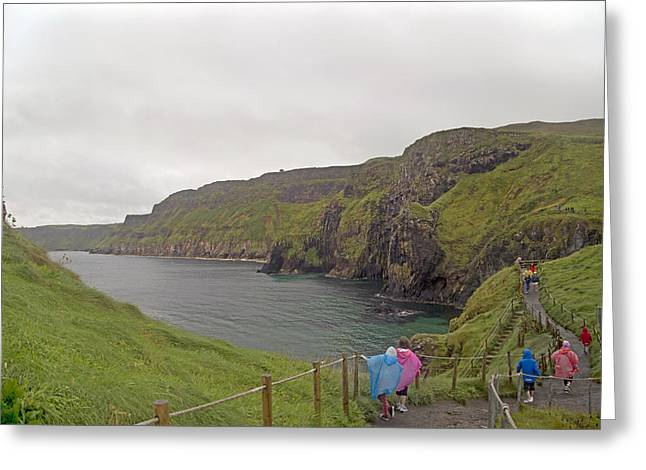 Modern Day Ruins Greeting Cards - Carrick-a-Rede Northern Ireland Greeting Card by Betsy A  Cutler