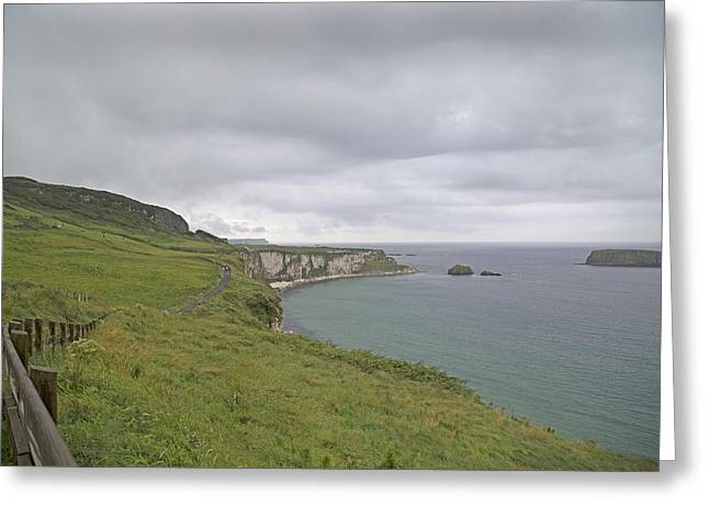 Blue Green Wave Greeting Cards - Carrick-a-Rede Path Ireland Greeting Card by Betsy C  Knapp