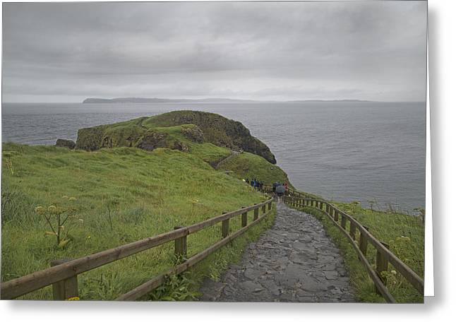 Modern Day Ruins Greeting Cards - Carrick-A-Rede Pathway Ireland Greeting Card by Betsy A  Cutler