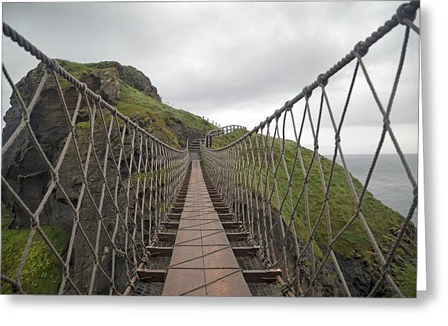 Modern Day Ruins Greeting Cards - Carrick-a-Rede Rope Bridge Ireland Greeting Card by Betsy A  Cutler
