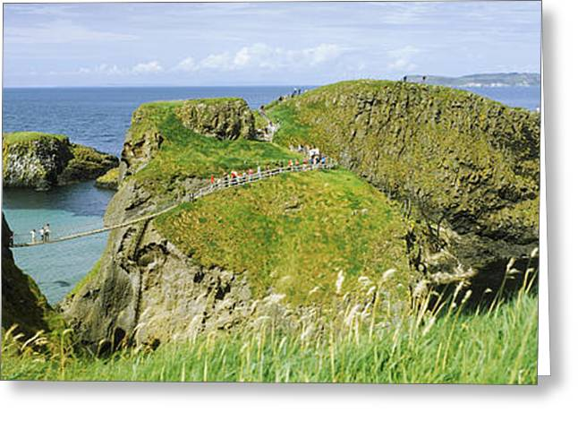 Rope Greeting Cards - Carrick-a-rede Rope Bridge Greeting Card by Panoramic Images