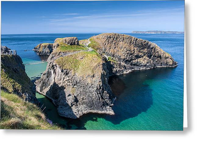 Best Ocean Photography Greeting Cards - Carrick-a-Rede Rope Bridge Greeting Card by Pierre Leclerc Photography