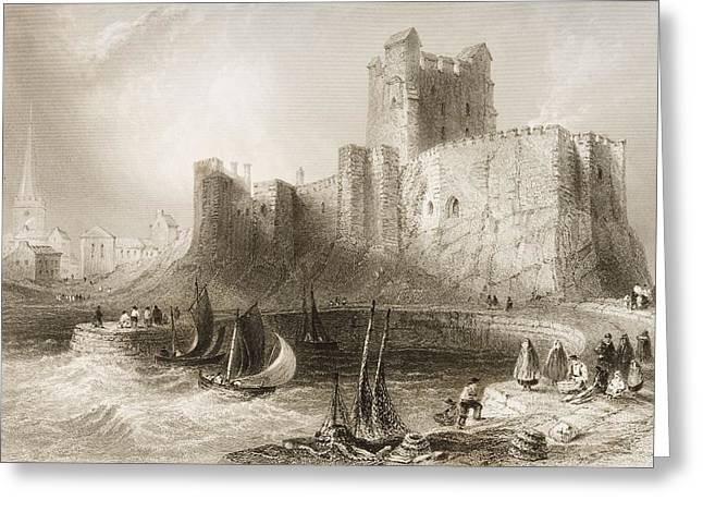 Sea Wall Greeting Cards - Carrickfergus Castle, County Antrim, Northern Ireland, From Scenery And Antiquities Of Ireland Greeting Card by William Henry Bartlett