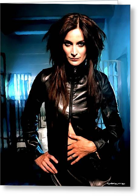 Carrie-anne Moss Greeting Cards - Carrie-Anne Moss Greeting Card by Gabriel T Toro