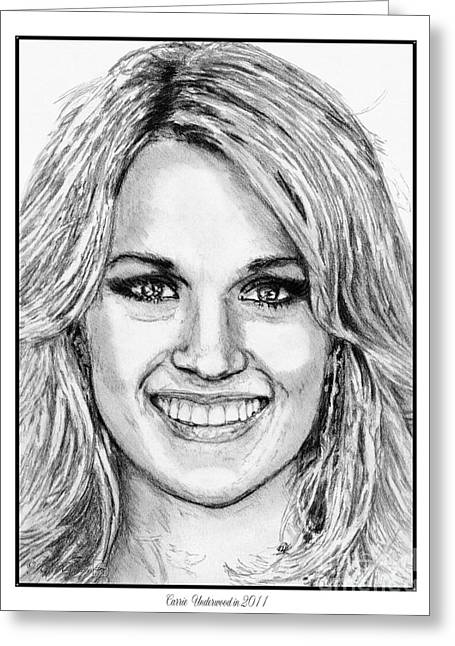 Nashville Drawings Greeting Cards - Carrie Underwood in 2011 Greeting Card by J McCombie