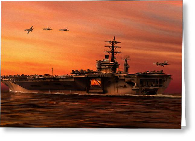 Uss Greeting Cards - Carrier Ops at Dusk Greeting Card by Dale Jackson