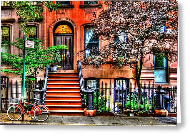 Townhouses Greeting Cards - Carries Place - Sex and the City Greeting Card by Randy Aveille