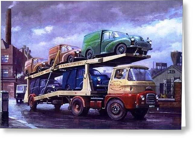 For Factory Greeting Cards - Carrimore car transporter at Longbridge. Greeting Card by Mike  Jeffries