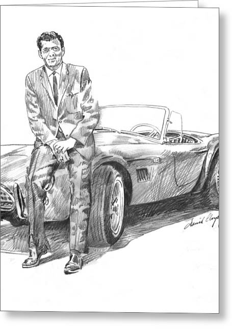 Carroll Shelby Drawings Greeting Cards - Carroll Shelby and CSX 2000 Greeting Card by David Lloyd Glover