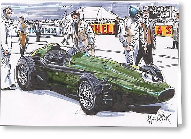 Carroll Shelby Drawings Greeting Cards - Carroll Shelby Aston Martin British Grand Prix Greeting Card by Paul Guyer