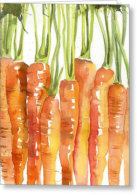 Groceries Greeting Cards - Carrot Bunch Art Blenda Studio Greeting Card by Blenda Studio