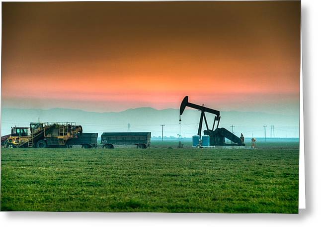 Black Top Greeting Cards - Carrot Harvest Oil Rig after Sunset Greeting Card by Connie Cooper-Edwards