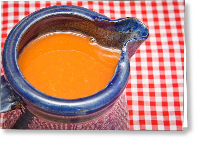 Table Cloth Greeting Cards - Carrot juice Greeting Card by Tom Gowanlock