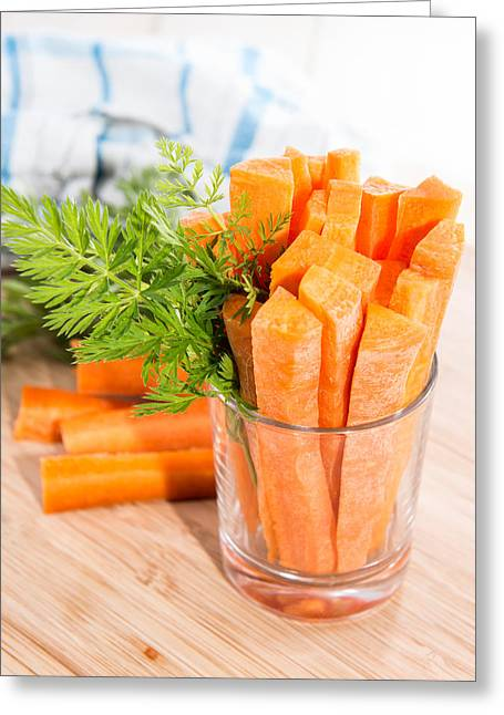 Vegeterian Greeting Cards - Carrot Sticks in a glass Greeting Card by Handmade Pictures
