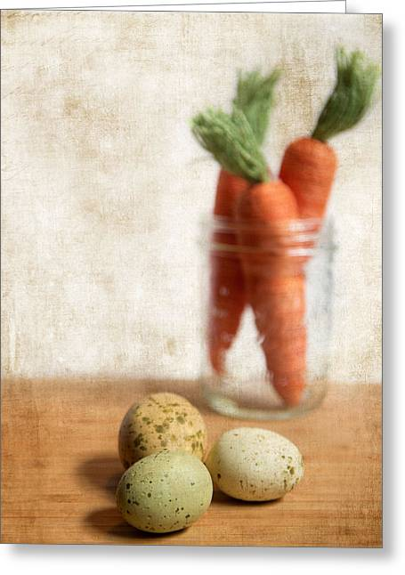 Carrots Greeting Cards - Carrots and Eggs 2 Greeting Card by Rebecca Cozart