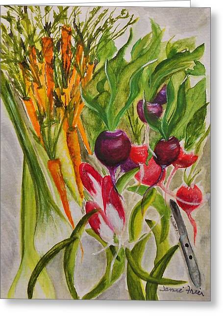 Carrots And Radishes Greeting Card by Jamie Frier
